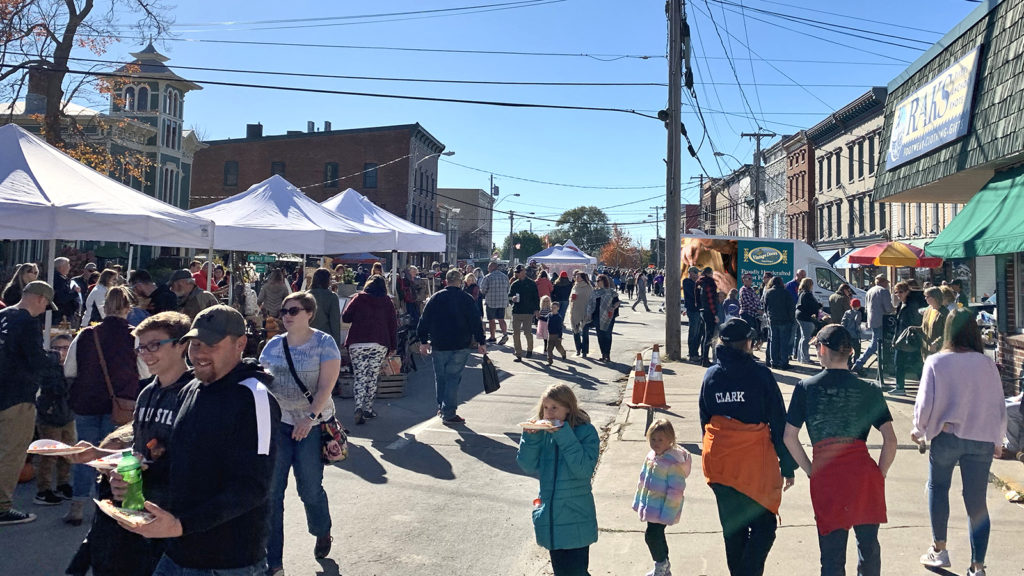A busy Riverside Drive in Clayton, NY at the 8th Annual Punkin' Chunkin'