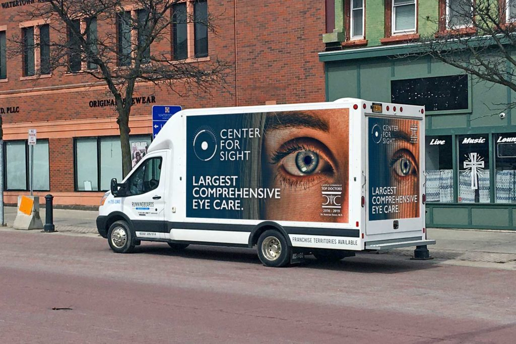 an advertisement for Center For Sight on Runningboards Marketing's DAV
